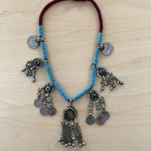 Bohemian coin stone necklace